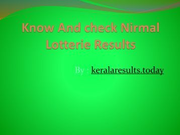 Know And check Nirmal Lotterie Results