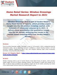 Home Retail Series: Window Dressings Share, Trends and Growth to 2021 by Radiant Insights,Inc