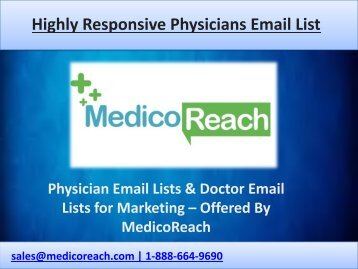 Find Physicians Email List Worldwide at MedicoReach
