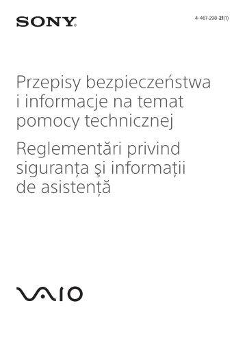 Sony SVF1521X6E - SVF1521X6E Documents de garantie Polonais