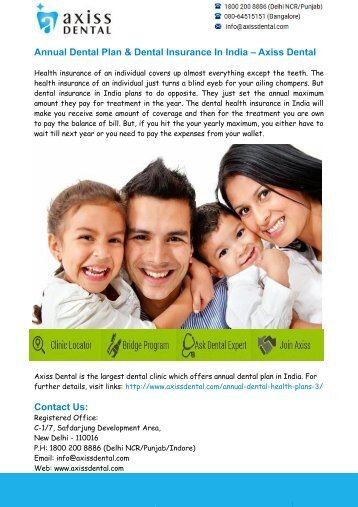 Dental Insurance in India– Axiss Dental