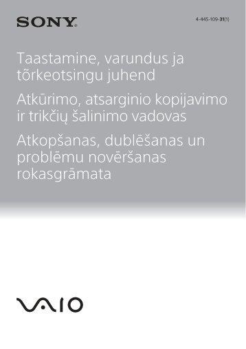 Sony SVE1712P1E - SVE1712P1E Guide de dépannage Estonien