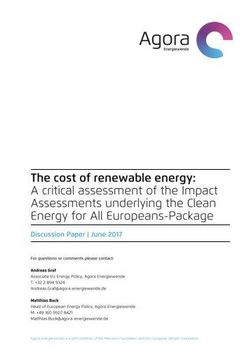 Agora Energiewende - Cost-of-Renewabel Energies