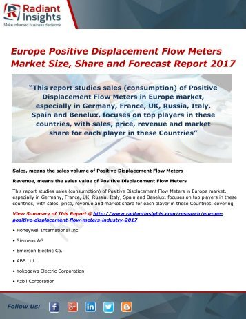 Europe Positive Displacement Flow Meters Market Trends, Analysis and Forecasts 2017
