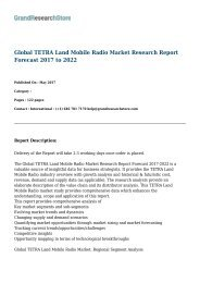 Global TETRA Land Mobile Radio Market Research Report Forecast 2017 to 2022
