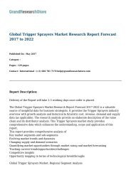 Global Trigger Sprayers Market Research Report Forecast 2017 to 2022