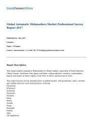 Global Automatic Dishwashers Market Professional Survey Report 2017