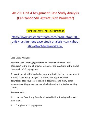 Ab  Unit  Assignment Case Study Analysis Kaplan