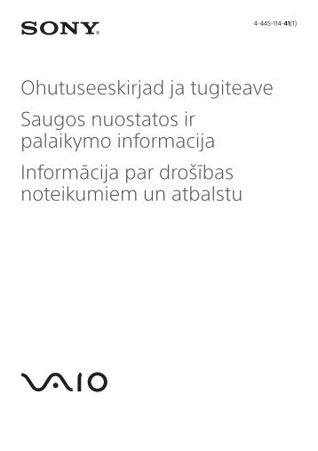 Sony SVT1312V1E - SVT1312V1E Documents de garantie Estonien