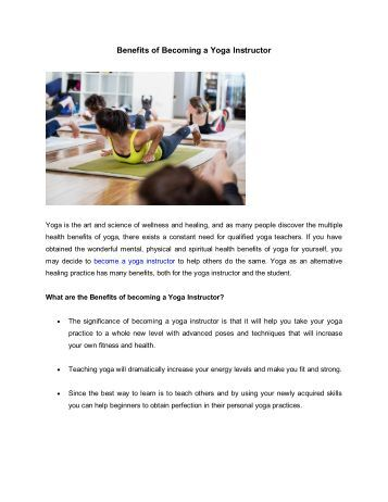 Benefits of Becoming a Yoga Instructor