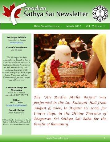Maha Sivarathri 2012 - Sri Sathya Sai Baba Book and Information ...