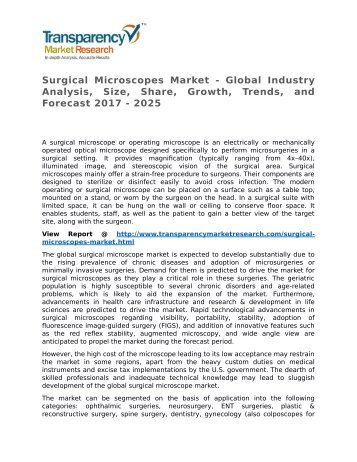Surgical Microscopes Market - Global Industry Analysis, Size, Share, Growth, Trends, and Forecast 2017 - 2025
