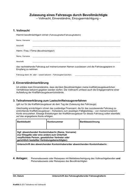 Erteilung Einzugsermächtigung Kfz Steuer Mit Vollmacht374