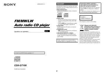 Sony CDX-GT100 - CDX-GT100 Mode d'emploi Serbe
