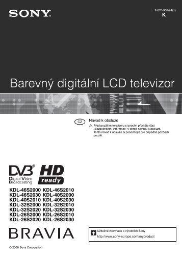 Sony KDL-26S2000 - KDL-26S2000 Mode d'emploi Tchèque