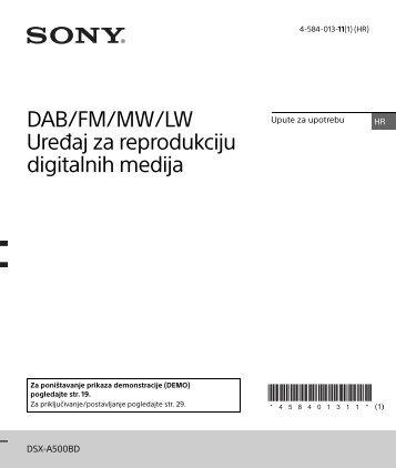Sony DSX-A500BD - DSX-A500BD Consignes d'utilisation Croate