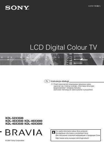Sony KDL-52X3500 - KDL-52X3500 Mode d'emploi Polonais