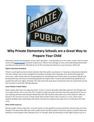 Why Private Elementary Schools are a Great Way to Prepare Your Child