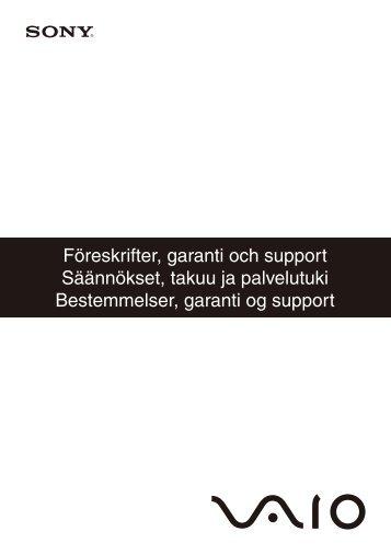 Sony VPCS11M1E - VPCS11M1E Documents de garantie Suédois