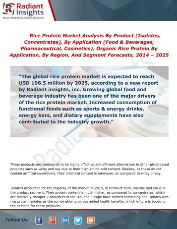 Rice Protein Industry Demand and Forecast Report To 2014 - 2025