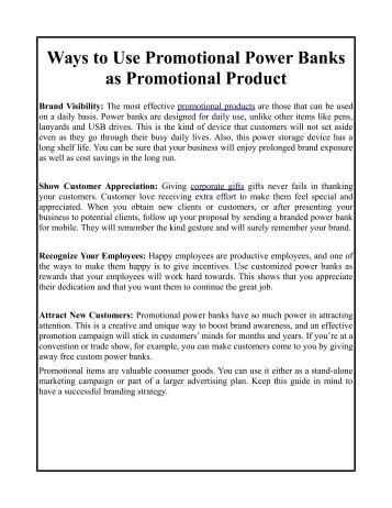 Use Promotional Products