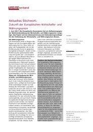 Aktuelles Stichwort: Zukunft der Europäischen Wirtschafts- und Währungsunion