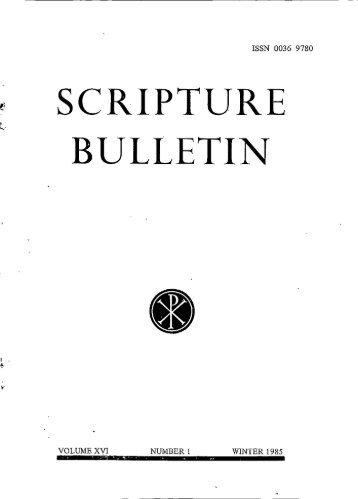 SCRIPTURE BULLETIN - Catholic Biblical Association