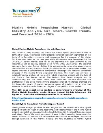 Marine Hybrid Propulsion Market - Global Industry Analysis, Size, Share, Growth Trends, and Forecast 2016 - 2024