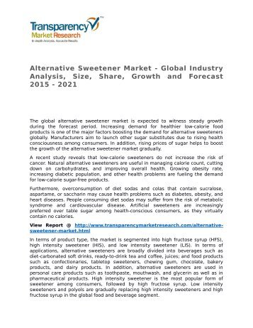 Alternative Sweetener Market - Global Industry Analysis, Size, Share, Growth and Forecast 2015 - 2021