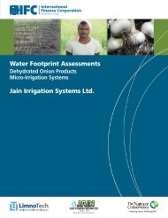 Water Footprint Assessments Jain Irrigation Systems Ltd.