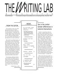 Sex in the center - The Writing Lab Newsletter
