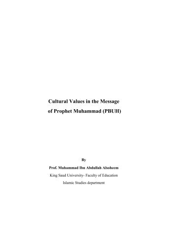 Cultural Values in the Message of Prophet Muhammad - PBUH