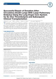 Successful Repair of Donation After Circulatory Death Lungs With Large Pulmonary Embolus Using the Lung Organ Care System for Ex Vivo Thrombolysis and Subsequent Clinical Transplantation