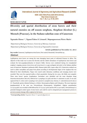 Diversity and spatial distribution of stem borers and their natural enemies on off season sorghum, Sorghum bicolour (L.) Moench (Poaceae), in the Sudano-sahelian zone of Cameroon