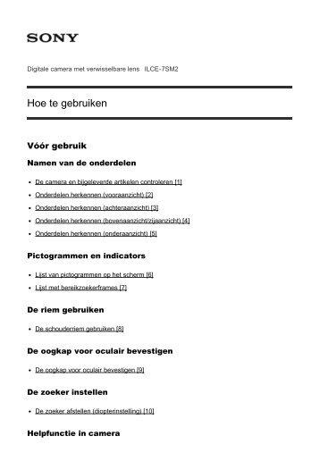 Sony ILCE-7SM2 - ILCE-7SM2 Manuel d'aide Néerlandais
