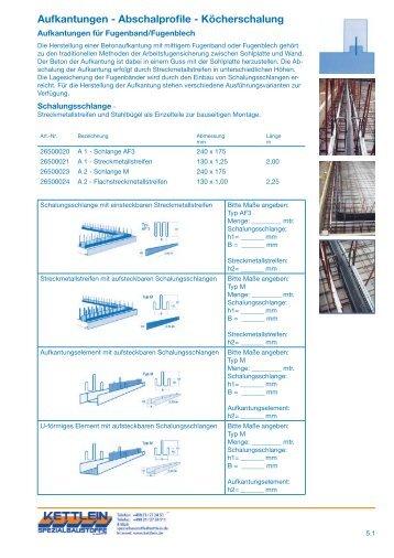 Aufkantungen - Abschalprofile - Köcherschalung - kettlein.de