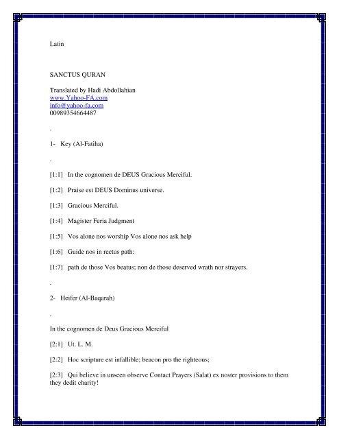 Latin translation of the Quran
