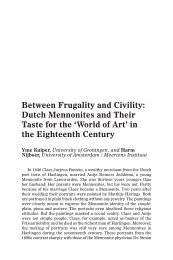 Between Frugality and Civility: Dutch Mennonites and Their Taste for ...