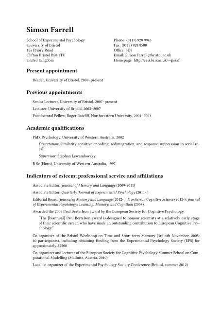 Simon Farrell: Curriculum Vitae - Eis bris ac uk