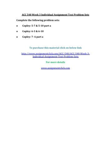UOP ACC 548 Week 3 Individual Assignment Text Problem Sets