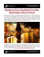Haridwar Free Classifieds For Jobs, Real Estate, Tour & Travel
