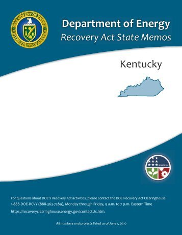 Kentucky Recovery Act State Memo - U.S. Department of Energy