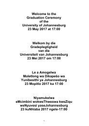 University of Johannesburg - Graduation session - 23 May 2017 - 1700