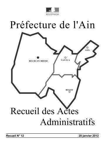 Recueil N° 12 20 janvier 2012 - Préfecture de l'Ain