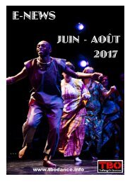 Agenda TBODANCE Juin à Août 2017