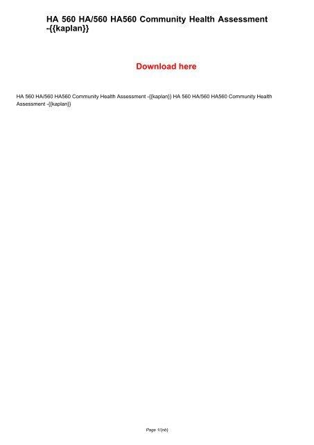 HA 560 HA/560 HA560 Community Health Assessment -{{kaplan}}