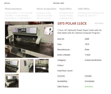 Buy Used 1973 POLAR 115CE Machine