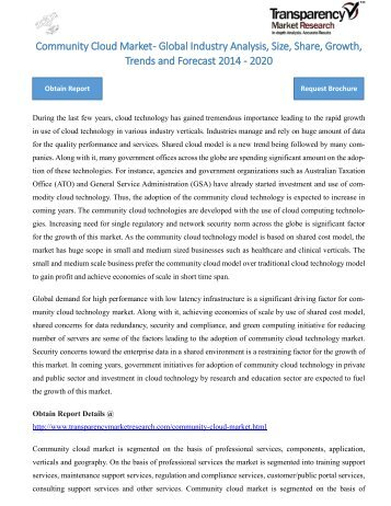 Community Cloud Market - Global Industry Analysis, Size, Share, Growth, Trends and Forecast 2014 - 2020