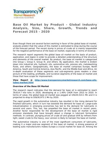 Base Oil Market by Product - Global Industry Analysis, Size, Share, Growth, Trends and Forecast 2015 - 2020