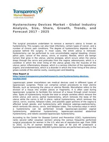 Hysterectomy Devices Market - Global Industry Analysis, Size, Share, Growth, Trends, and Forecast 2017 - 2025